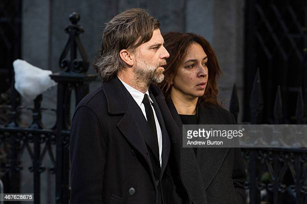 Paul Thomas Anderson and Maya Rudolph attend the funeral service for actor Philip Seymour Hoffman who died of an alleged drug overdose on February 1...