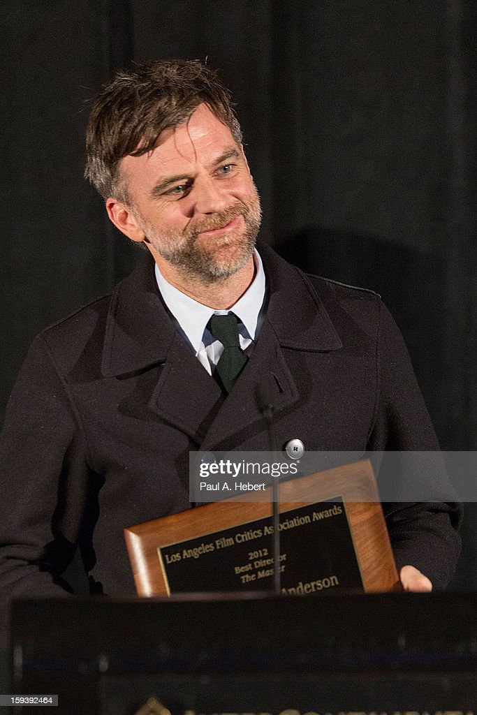 <a gi-track='captionPersonalityLinkClicked' href=/galleries/search?phrase=Paul+Thomas+Anderson+-+American+Director&family=editorial&specificpeople=820943 ng-click='$event.stopPropagation()'>Paul Thomas Anderson</a> receives the Best Director award for 'The Master' at the 38th Annual Los Angeles Film Critics Association Awards held at the InterContinental Hotel on January 12, 2013 in Century City, California.
