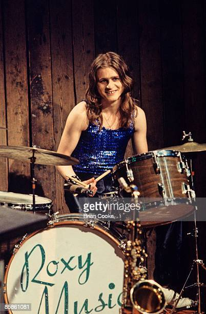 Paul Thompson of Roxy Music posed behind his drum kit at the Royal College Of Art video studio in London on July 5 1972