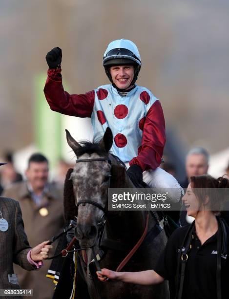 Paul Townend celebrates victory on Irish Cavalier in the CHAPS Restaurants Barbados Novices' Handicap Chase