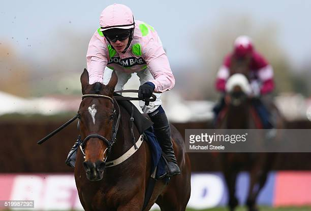 Paul Townend riding Douvan to victory in the Doom Bar Maghull Novices' steeplechase during the Crabbie's Grand National steeplechase at Aintree...