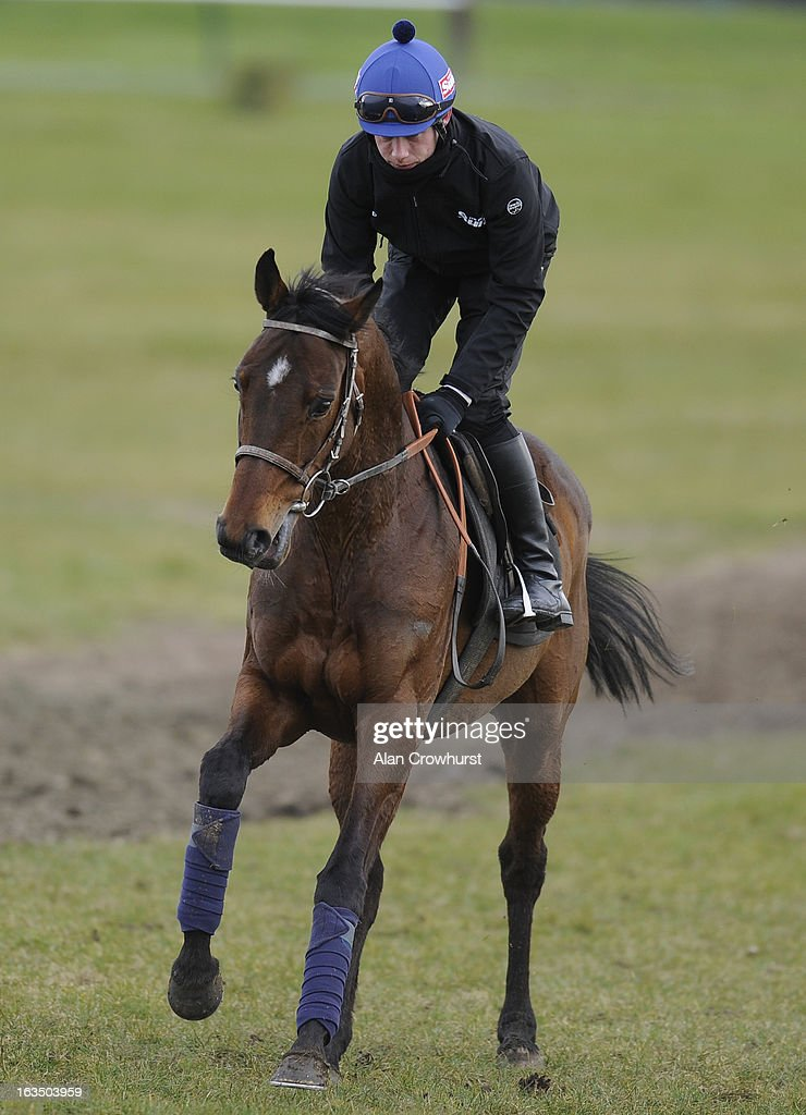 Paul Townend riding Hurricane Fly on the gallops at Cheltenham racecourse on March 11, 2013 in Cheltenham, England.