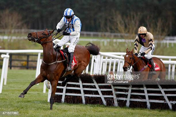 Paul Townend riding Killultagh Vic clear at the last to win The Irish Daily Mirror Novice Hurdle at Punchestown racecourse on April 29 2015 in Naas...
