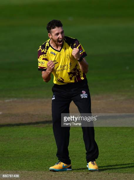 Paul Van Meekeren of Somerset celebrates the wicket of Sam Northeast of Kent during the NatWest T20 Blast match between Somerset and Kent at The...