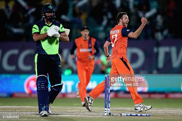 Paul van Meekeren of the Netherlands celebrates bowling Max Sorensen of Ireland during the ICC World Twenty20 India 2016 match between Netherlands...