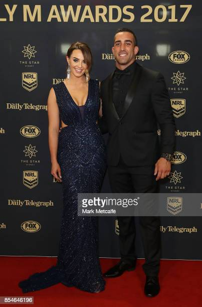 Paul Vaughan and Ellis Crossman arrive ahead of the 2017 Dally M Awards at The Star on September 27 2017 in Sydney Australia