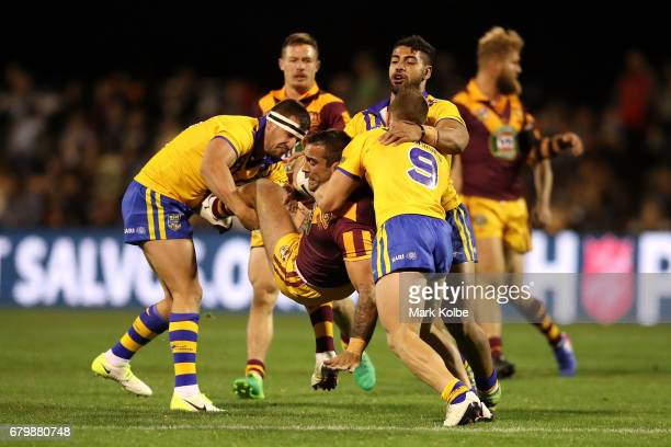 Paul Vaughan of Country is tackled by during the 2017 City versus Country Origin match at Glen Willow Sports Ground on May 7 2017 in Mudgee Australia