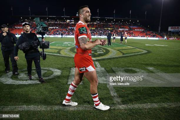 Paul Vaughan of the Dragons celebrates victory during the round 25 NRL match between the Penrith Panthers and the St George Illawarra Dragons at...