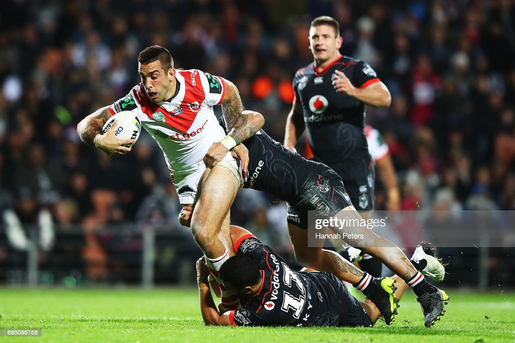 Paul Vaughan of the Dragons charges forward during the round 11 NRL match between the New Zealand Warriors and the St George Illawarra Dragons at Waikato Stadium on May 19, 2017 in Hamilton, New Zealand.