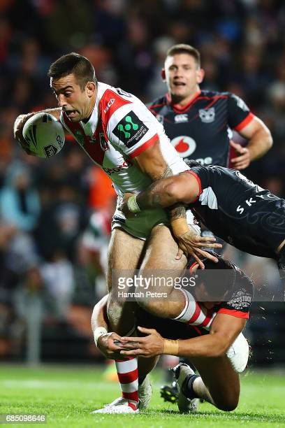 Paul Vaughan of the Dragons charges forward during the round 11 NRL match between the New Zealand Warriors and the St George Illawarra Dragons at...