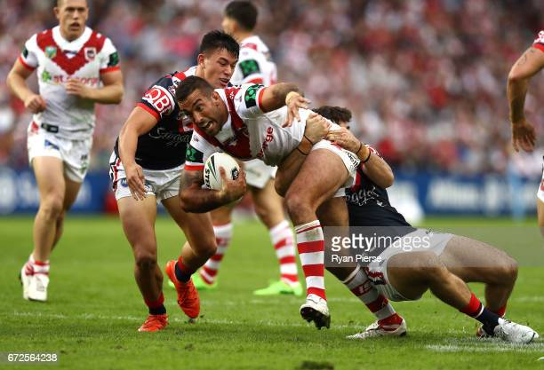 Paul Vaughan of the Dragons is tackled during the round eight NRL match between the Sydney Roosters and the St George Illawarra Dragons at Allianz...