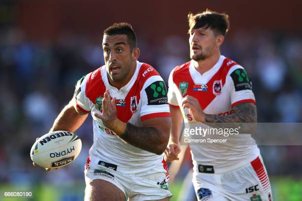 Paul Vaughan of the Dragons runs the ball during the round six NRL match between the Manly Sea Eagles and the St George Illawarra Dragons at...