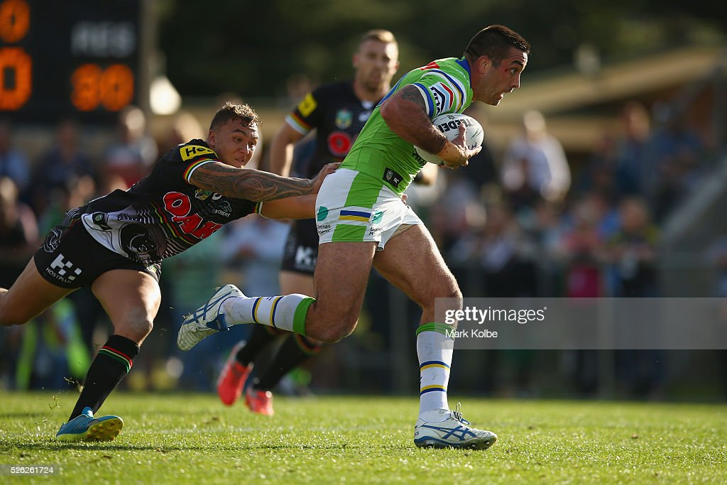 Paul Vaughan of the Raiders makes a break during the round nine NRL match between the Penrith Panthers and the Canberra Raiders at Carrington Park on April 30, 2016 in Bathurst, Australia.