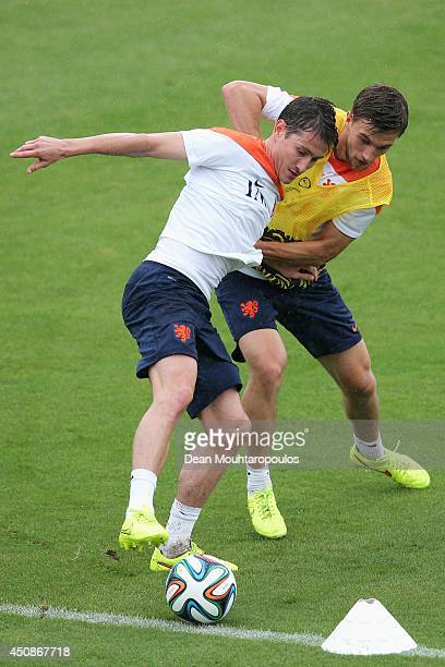 Paul Verhaegh and Joel Veltman battle for the ball during the Netherlands training session at the 2014 FIFA World Cup Brazil held at the Estadio Jose...