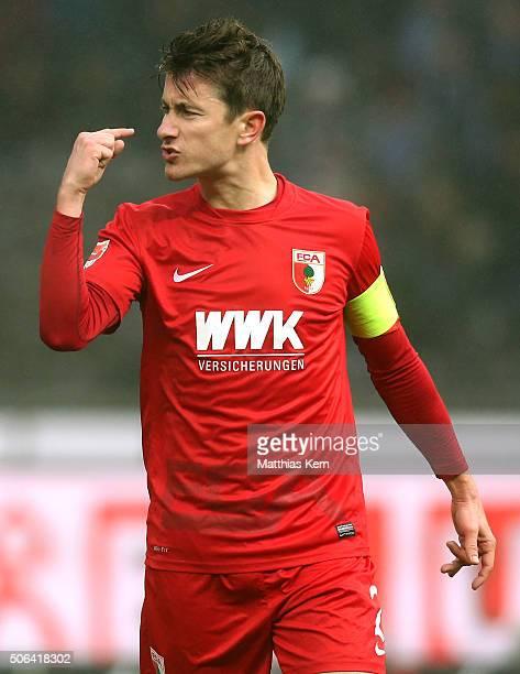 Paul Verhaegh of Augsburg gestures during the Bundesliga match between Hertha BSC and FC Augsburg at Olympiastadion on January 23 2016 in Berlin...
