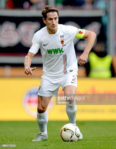 Paul Verhaegh of Augsburg in action during the Bundesliga match between FC Augsburg and Hannover 96 at WWK Arena on September 20 2015 in Augsburg...
