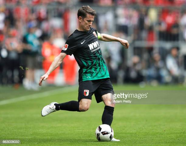 Paul Verhaegh of Augsburg in action during the Bundesliga match between Bayern Muenchen and FC Augsburg at Allianz Arena on April 1 2017 in Munich...