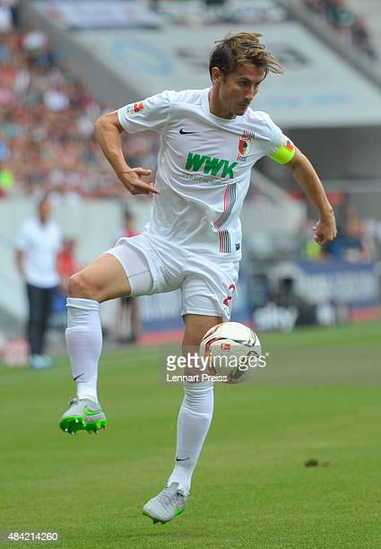 Paul Verhaegh of FC Augsburg in action during the Bundesliga match between FC Augsburg and Hertha BSC at WWKArena on August 15 2015 in Augsburg...