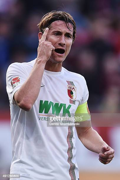 Paul Verhaegh of FC Augsburg reacts during the Bundesliga match between Bayer Leverkusen and FC Augsburg at BayArena on October 4 2015 in Leverkusen...