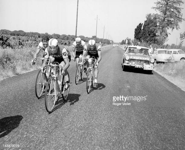 Paul Vermeuluen in front of Henri Anglade French racing cyclists Stage between Toulon and Montpelier during the 1964 Tour de France
