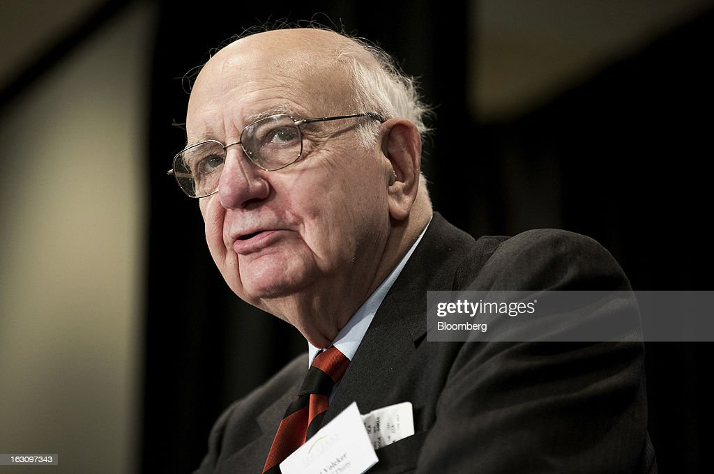 """Paul Volcker, former chairman of the Federal Reserve, speaks at the National Association of Business Economics (NABE) 2013 Economic Policy Conference in Washington, D.C., U.S., on Monday, March 4, 2013. Volcker said U.S. central bank officials may find it difficult to rein in their historic stimulus at the appropriate time because """"there is a lot of liquor out there now."""" Photographer: Joshua Roberts/Bloomberg via Getty Images"""