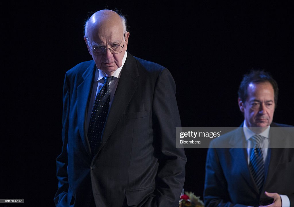 <a gi-track='captionPersonalityLinkClicked' href=/galleries/search?phrase=Paul+Volcker&family=editorial&specificpeople=206806 ng-click='$event.stopPropagation()'>Paul Volcker</a>, former chairman of the U.S. Federal Reserve, left, and John Paulson, president of Paulson & Co. Inc., enter to listen to Ben S. Bernanke, chairman of the U.S. Federal Reserve, unseen, speak to the Economic Club of New York in New York, U.S., on Tuesday, Nov. 20, 2012. Bernanke said that an agreement on ways to reduce long-term federal budget deficits could remove an impediment to growth, while failure to avoid the so-called fiscal cliff would pose a 'substantial threat' to the recovery. Photographer: Scott Eells/Bloomberg via Getty Images