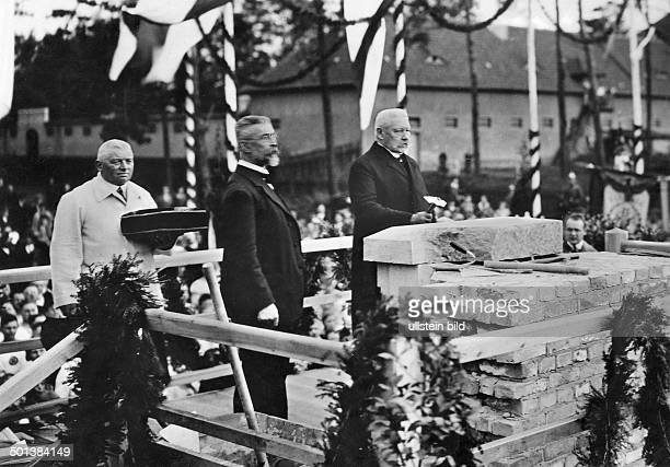 Paul von Hindenburg German field marshal and statesman 2nd President of Gemany 192534 Hindenburg performing the laying of the cornerstone of the...
