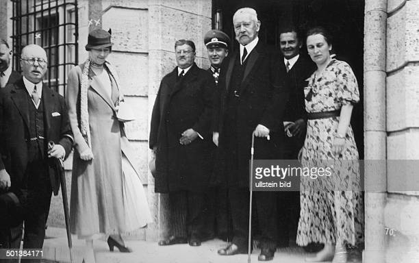 Paul von Hindenburg German field marshal and statesman 2nd President of Gemany 192534 British ambassador Horace Rumbold and his wife visiting...