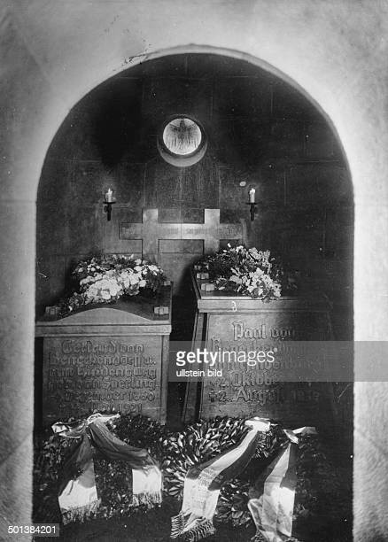 Paul von Hindenburg German field marshal and statesman 2nd President of Gemany 192534 Tombs of Hindenburg and his wife Gertrud in the Tannenberg...