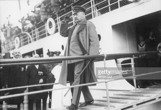 Paul von Hindenburg German field marshal and statesman 2nd President of Gemany 192534 Hindenburg travelling to East Prussia in 1924 leaving the ship...