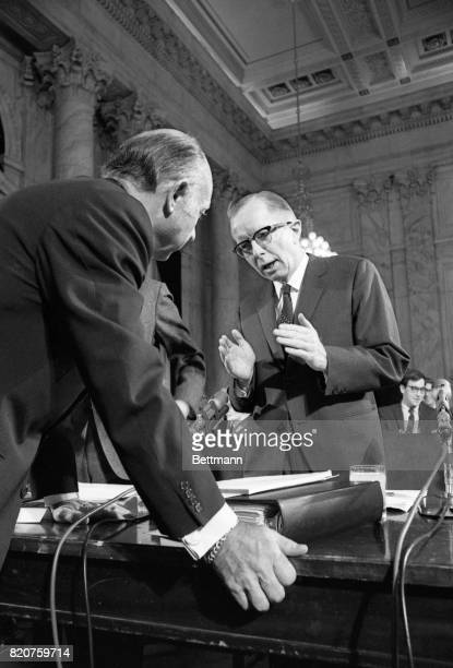 Paul W McCracken chairman of President Nixon's Council of Economic Advisers and other Administration top economic advisers were called before the...