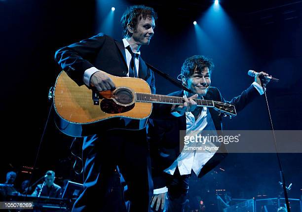 Paul WaaktaarSavoy and Morten Harket of AHA perform live on stage as part of their Farewell Tour at Royal Albert Hall on October 8 2010 in London...