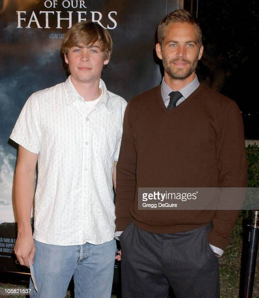 Paul Walker and Brother during 'Flags of Our Fathers' Los Angeles Premiere Arrivals at Academy Theatre in Beverly Hills California United States