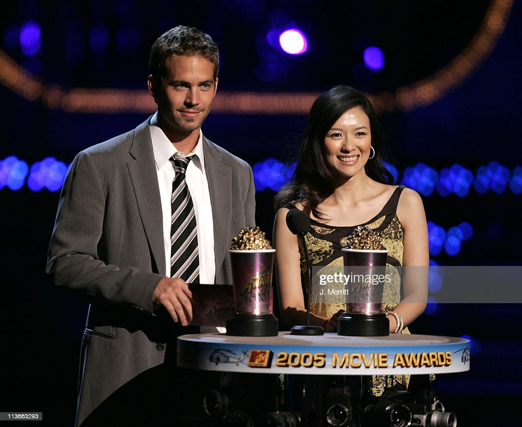 Paul Walker and Ziyi Zhang during 2005 MTV Movie Awards Show at Shrine Auditorium in Los Angeles California United States