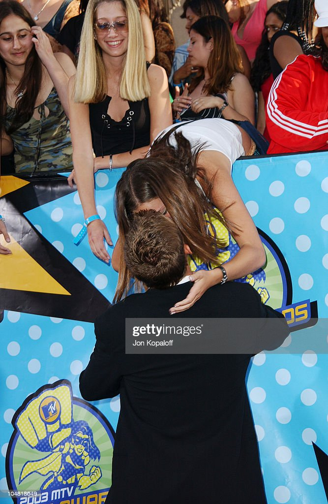 Paul Walker fan kissing *Call for pricing* during 2003 MTV Movie Awards Arrivals at The Shrine Auditorium in Los Angeles California United States