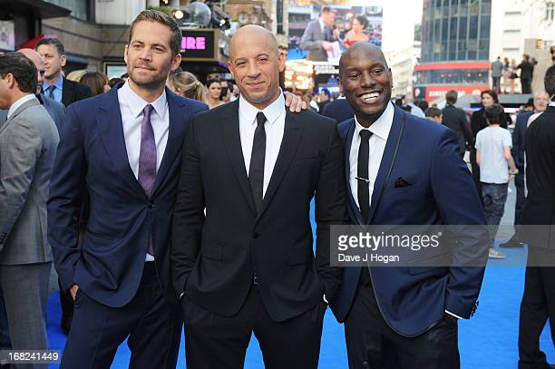 Paul Walker Vin Diesel and Tyrese Gibson attend the world premiere of 'Fast And Furious 6' at The Empire Leicester Square on May 7 2013 in London...