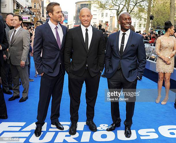 Paul Walker Vin Diesel and Tyrese Gibson attend the World Premiere of 'Fast Furious 6' at Empire Leicester Square on May 7 2013 in London England