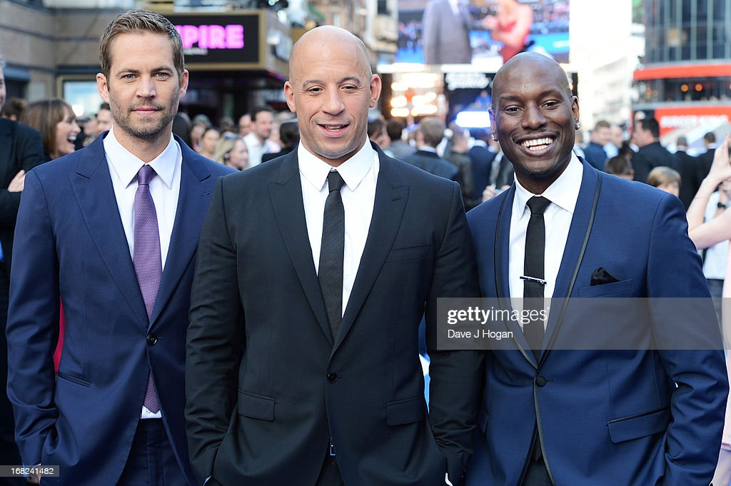 <a gi-track='captionPersonalityLinkClicked' href=/galleries/search?phrase=Paul+Walker+-+Actor&family=editorial&specificpeople=206607 ng-click='$event.stopPropagation()'>Paul Walker</a>, <a gi-track='captionPersonalityLinkClicked' href=/galleries/search?phrase=Vin+Diesel&family=editorial&specificpeople=171983 ng-click='$event.stopPropagation()'>Vin Diesel</a> and <a gi-track='captionPersonalityLinkClicked' href=/galleries/search?phrase=Tyrese&family=editorial&specificpeople=206177 ng-click='$event.stopPropagation()'>Tyrese</a> Gibson attend the world premiere of 'Fast And Furious 6' at The Empire Leicester Square on May 7, 2013 in London, England.