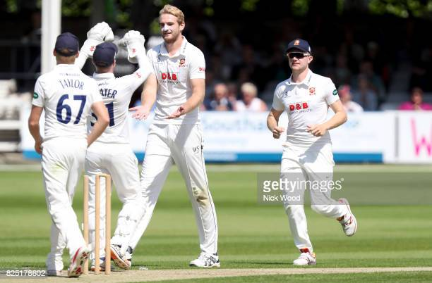 Paul Walter of Essex celebrates taking the wicket of Kyle Hope during the Essex v West Indies Tour Match cricket match at the Cloudfm County Ground...
