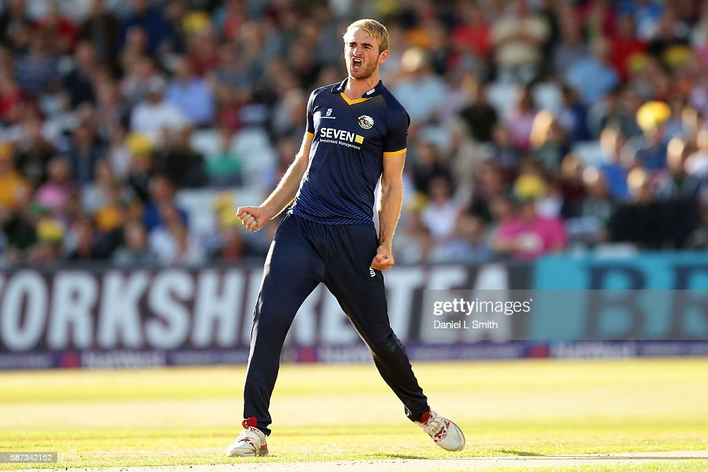 Paul Walter of Essex celebrates the first wicket for Essex with the dismissal of Michael Lumb of Notts during the NatWest T20 Blast match between...