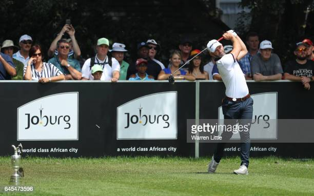 Paul Waring of England tees off on the 1st during completion of the suspended third and final round of The Joburg Open at Royal Johannesburg and...