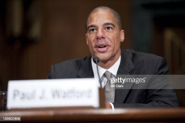 Paul Watford nominee to be US circuit judge for the Ninth Circuit is sworn in before testifying at his confirmation hearing in the Senate Judiciary...