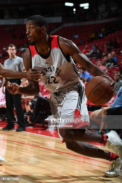 Paul Watson of the Toronto Raptors handles the ball against the Cleveland Cavaliers on July 14 2017 at the Thomas Mack Center in Las Vegas Nevada...