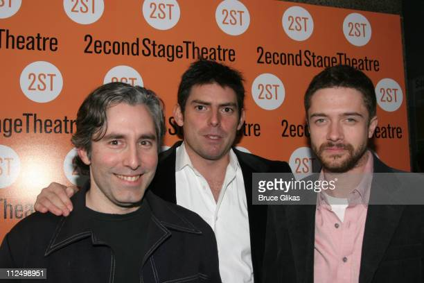 Paul Weitz Chris Weitz and Topher Grace during 'Privilege' OffBroadway Opening Night Arrivals at Second Stage Theater in New York City New York...