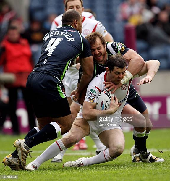 Paul Wellens of StHelens is tackled during the Engage Super League game between StHelens and Hull KR at Murrayfield on May 2 2010 in Edinburgh...