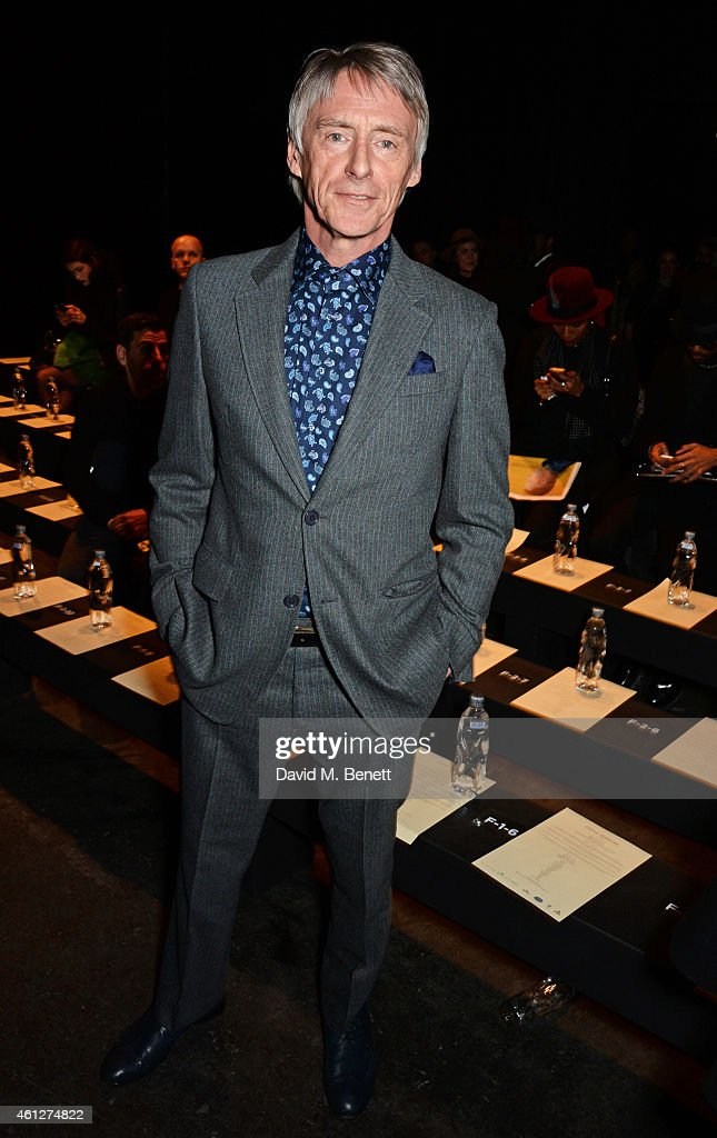 Paul Weller attends the front row at the Oliver Spencer show during London Collections: Men AW15 at The Old Sorting Office on January 10, 2015 in London, England.