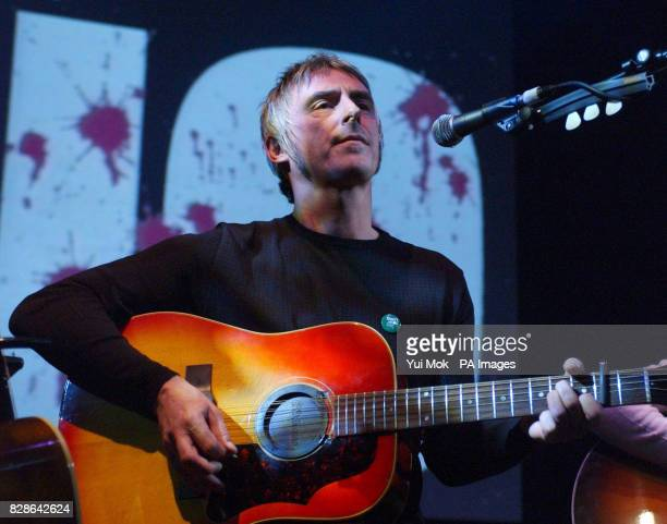 Paul Weller performing on stage during the One Big No antiwar concert at Shepherds Bush Empire in London