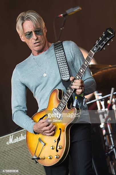 Paul Weller performs on the Pyramid Stage at the Glastonbury Festival at Worthy Farm Pilton on June 28 2015 in Glastonbury England Now its 45th year...