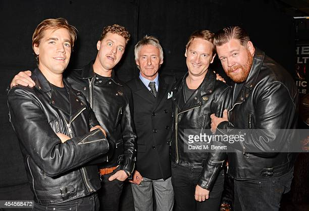 Paul Weller poses with Pelle Almqvist Niklas Almqvist Randy Fitzsimmons and Vigilante Carlstroem attend as John Varvatos launch their first European...