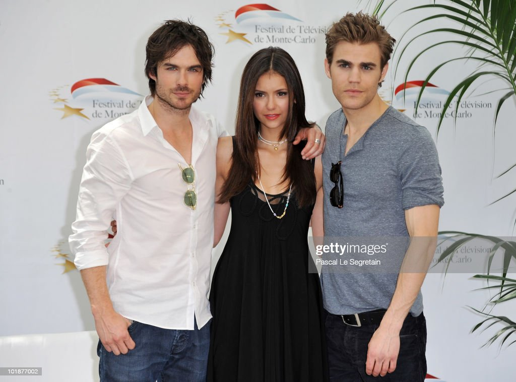Paul Wesley Nina Dobrev and Ian Somerhalder attend a photocall for the TV series 'THE VAMPIRE DIARIES' during the 2010 Monte Carlo Television...